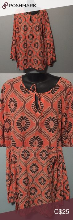 Fresh Produce Sheer Tunic with wide sleeves. Blouse is long Orange and Brown Pattern fresh produce Tops Tunics Plus Fashion, Fashion Tips, Fashion Trends, Orange Color, Tunics, Bell Sleeve Top, Tunic Tops, Canada, Fresh