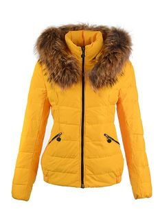 76ee10457fbe 2014 Moncler Outlet USA Yellow Sanglier Women Fur Collar Down Coat  www.iwinterjacket.