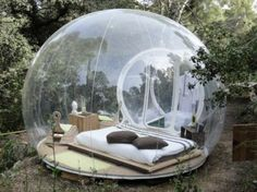 Only a wall of recyclable, transparent plastic lies between you and nature in this inflatable French bubble room.