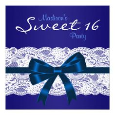 Royal Navy Blue White Lace Blue Sweet 16 Party Personalized Invites