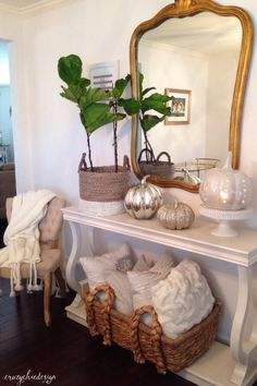 White, Silver and Gold Pumpkins for Fall. If you love a neutral home, try adding these pumpkins to your decor! They add a chic and glamorous Fall look. Sponsored by HomeGoods
