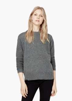 Ribbed wool-blend sweater - Cardigans and sweaters for Women | MANGO (medium, grey)