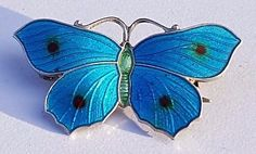 ANTIQUE STERLING SILVER ENAMEL JOHN ATKINS & SON BUTTERFLY BROOCH 1917