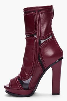 VERSUS Burgundy Paneled Leather Ankle Boots