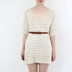 Crocheted tunic dress.