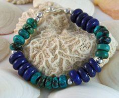 Bohemian Gemstone Bracelet with Lapis Lazuli and Green Turquoise by DesignsByJuneBug on Etsy