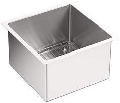 """View the Kohler K-5287 Strive 15"""" Single Basin Undermount 16-Gauge Stainless Steel Kitchen Sink with SilentShield with Basin Rack at FaucetDirect.com."""