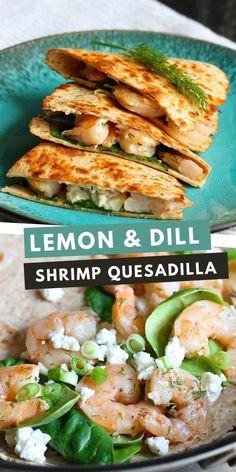 Shrimp seared with garlic and brightened with lemon and dill are tucked into a crispy quesadilla, along with spinach and feta cheese. 257 calories and 5 Weight Watchers SP | Recipes | Easy | Seafood | Healthy #quesadillarecipes #healthyquesadillas #shrimprecipes Top Recipes, Skinny Recipes, Easy Weeknight Meals, Easy Meals, Healthy Dishes, Healthy Recipes, Quesadilla Recipes, Appetizer Salads, Spinach And Feta
