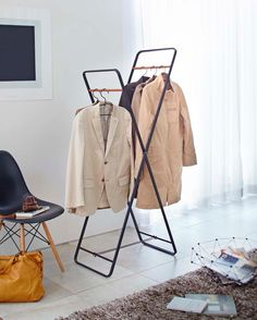 1d12d499da7 It s cleverly designed for hanging coats and drying clothes. Tower Double Coat  Hanger  yamazakihome