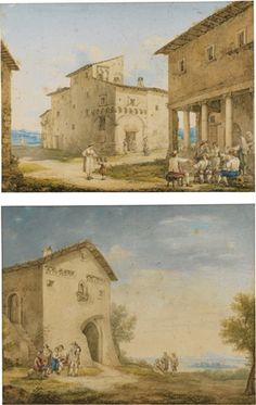 TWO VIEWS OF TIVOLI: A) A GOTHIC HOUSE AND FIGURES OUTSIDE AN OSTERIA; B) FIGURES RESTING AND DRINKING OUTSIDE A HOUSE by Bartolomeo Pinelli