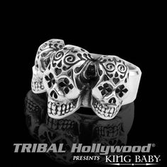 TRIPLE+DAY+OF+THE+DEAD+SKULL+Sterling+Silver+Mens+Ring+by+King+Baby