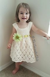 Vintage Toddler Dress - Free Crochet Pattern - The Lavender Chair Crochet Toddler Dress, Toddler Dress Patterns, Baby Girl Crochet, Crochet Baby Clothes, Crochet For Kids, Knit Crochet, Crochet Hats, Crochet Dresses, Crochet Dress Girl