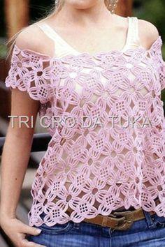 Hooked on crochet: Crochet top / Blusinha de crochê / Blusa en ganchillo