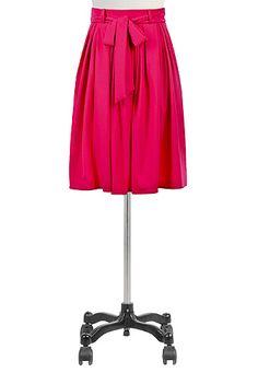 I <3 this Sash tie belt pleated crepe twill skirt from eShakti