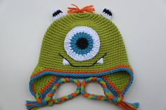 Crocheted Cotton Hot Green One Eye Monster for Girl or Boy - size 2T - 3T - Ready To Ship. $29.50, via Etsy.