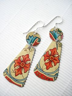Red Patterned Vintage Recycled Tin Earrings by eaststreettins, $26.00