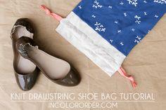 Knit Drawstring Shoe Bag Tutorial - In Color Order