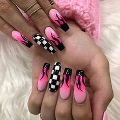 51 Stylish Fire Nail Art Design Ideas You Must Try – nageldesign. Edgy Nails, Aycrlic Nails, Stylish Nails, Swag Nails, Coffin Nails, Nail Nail, Gems On Nails, Edgy Nail Art, Nails 2016