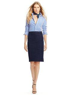 Denim Pencil Skirt - Polo Ralph Lauren Short Skirts - RalphLauren.com