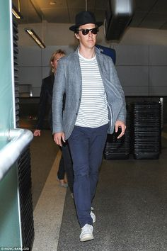 Searching for clues? Benedict Cumberbatch was looking casually cool as he landed at LAX on Friday while on a break from filming Sherlock in the UK