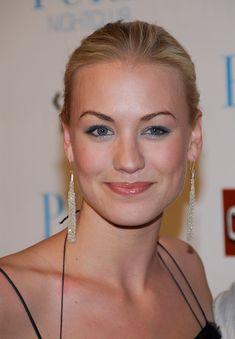 Yvonne Strahovski---like the makeup, pulled back hair and big earrings :)