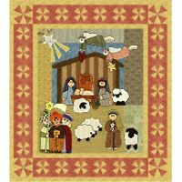 Nativity | This cute wallhanging is fun to sew and will please young and old! The stable block is paper-pieced, with some appliqué, and all other designs are appliquéd onto pieced background blocks. Border and corner blocks are pieced to complement the overall appliqué design.