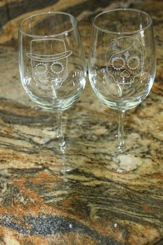 Wedding Day of the Dead - Wine Glass Set (2)