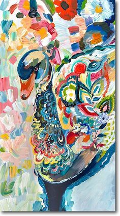 Swimming in Flowers by Starla Michelle 2013 Acrylic on Wood