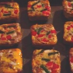 Mini vegetable Omelette's made in Pampered Chef's Brownie Pan. Awesome product. Crumble cooked sausage and place in bottom of wells. Beat 12 eggs and add to wells. Top with your choice of veggies; red/green/yellow peppers, onions, asparagus and mushrooms. Cook 17-20 minutes at 375. When done remove immediately from pan and add cheese to top. Freeze and microwave for 30 secs, put between an English Muffin or crumble in a tortilla. Quick, easy breakfast for home or to go!