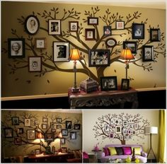 Photo Frame Family Tree Wall decal Wall Sticker Art , Living Room WallDdecals, Wall Decor, Home Decor, Wallpaper Display Family Photos, Family Pictures, Wall Pictures, Hanging Pictures, Family Tree Wall Decal, Photo Tree, Picture Tree, Tree Art, Wall Decals