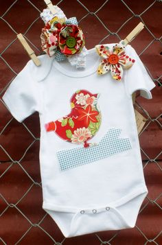 Bird on Branch Applique Baby Girl Onesie and/or Bodysuit with Matching Head Band Set. $29.95, via Etsy.