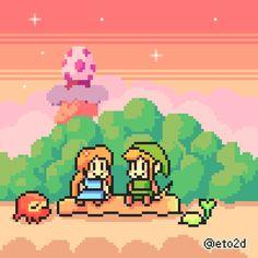Link and Marin, The Legend of Zelda: Link's Awakening.