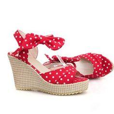 5a0121fda Fancy Polka Dots Print Wedge Sandals-Black Blue Red