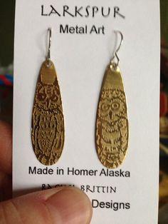 Etched Brass Tear Drop Owl Earrings by LarkspurMetalArt on Etsy