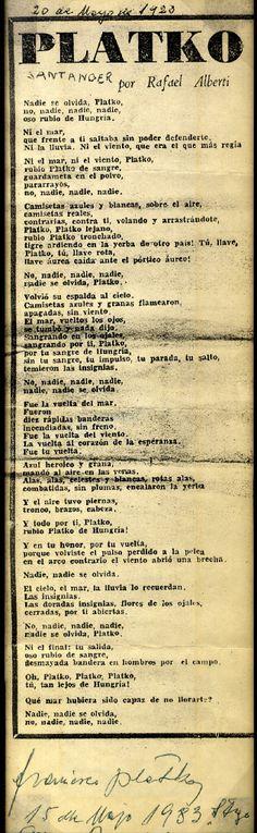 @1964Manel 25 Nov/13 Poema de Rafael Alberti dedicat a Plattkó que l'ex porter hongarès va enviar al FC Barcelona el 15 de maig del 1983.  (Twitter)