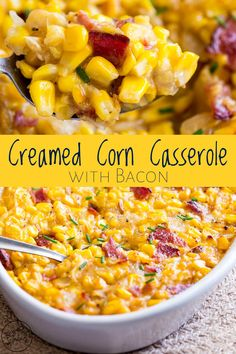 This Baked Creamed Corn Casserole with Bacon is a little different to the standard corn casserole; this version doesnt h Baked Creamed Corn Casserole, Cream Corn Casserole, Veggie Casserole, Easy Corn Casserole, Gluten Free Corn Casserole Recipe, Creamed Corn Recipes, Bean Casserole, Casserole Dishes, Gluten Free Sides Dishes