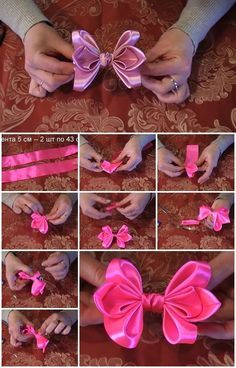 Discover thousands of images about little bow tutorial Ribbon Art, Diy Ribbon, Fabric Ribbon, Ribbon Crafts, Ribbon Bows, Fabric Flowers, Making Hair Bows, Diy Hair Bows, Diy Bow