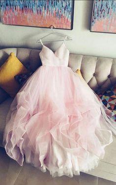 Simple V- Neck Tulle Pink Wedding Dress,Pink Tulle Wedding Dress,Cheap Wedding Dress, Spaghetti Strap Wedding Dresses,Evening Dress,Party Dress,Graduation Dresses,Prom Dresses