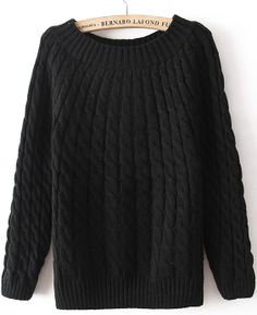 Black Long Sleeve Loose Cable Knit Sweater EUR€12.05