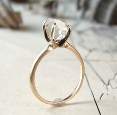 rough herkimer solitaire ring - 14K yellow gold. Love the raw rock!
