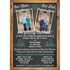 Blended family wedding invitations with chalkboard theme