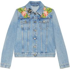 Gucci Embroidered Denim Jacket ($2,000) ❤ liked on Polyvore featuring outerwear, jackets, denim, coats & jackets, ready to wear, women, gucci, collar jacket, blue denim jacket and blue jackets