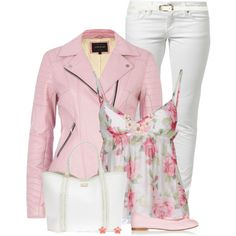"""""""Pink Leather Jacket and Flats"""" by daiscat on Polyvore"""