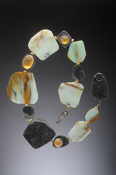 Black Gold Jewelry Peruvian Opal Slabs, hollow oxidized Silver Beads, Spacer beads and Citrine Cabochons set in Gold- Hughes-Bosca Jewelry Jewelry Art, Fine Jewelry, Jewelry Necklaces, Fashion Jewelry, Jewelry Making, Jewellery, Horse Jewelry, Pearl And Diamond Necklace, Gemstone Necklace