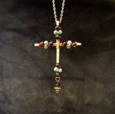 Garnet cross, wire cross, gold cross, beaded cross, crucifix, beaded crucifix, wire wrapped beaded cross, January birthstone, spiritual by DivineCrossings on Etsy