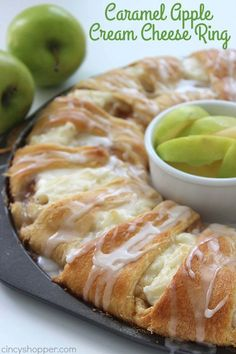 This Caramel Apple Cream Cheese Crescent Ring is super simple and makes for a great breakfast or dessert for fall. You will find it loaded with apples cinnamon cream cheese caramel and a sweet drizzle. Just Desserts, Delicious Desserts, Yummy Food, Easy Apple Desserts, Cherry Desserts, Tasty, Gourmet Desserts, Brunch Recipes, Breakfast Recipes