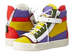 """""""Blinded by the Light""""...These GIUSEPPI ZANOTTI Sneakers are quite unique.  You could go with the standard fare, or you could break the rules and redefine fashion on your own terms in these unique Giuseppe Zanotti® sneakers. Multicolored leather upper with tonal stitching.  High-top sneaker silhouette. Decorative heel zipper.  Lace up front closure with blind eyelets.  Side zip closure with easy entry.  Dual cross foot straps with hook and loop closures for an extra secure fit.  Made in…"""