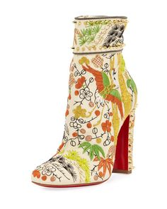 X3R3F Christian Louboutin Bamboot Embroidered Red Sole Bootie