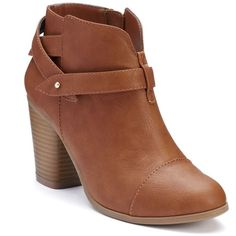 LC Lauren Conrad Women's Slit Ankle Boots ($60) ❤ liked on Polyvore featuring shoes, boots, ankle booties, brown, zipper booties, zip ankle boots, ankle boots, short brown boots and harness boots
