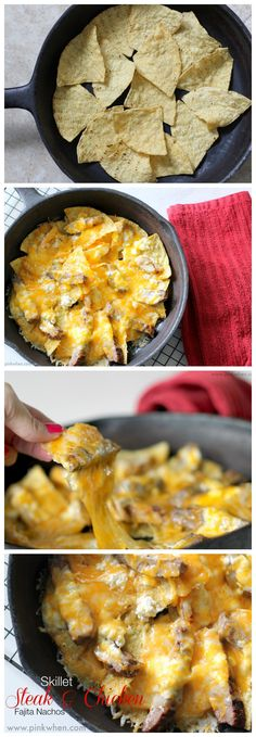 A delicious Simple Skillet #Nachos recipe with Steak and #Chicken_Fajita meat! Super easy and perfect for #cincodemayo